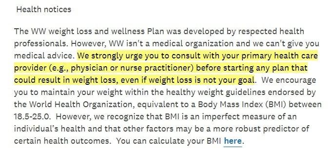Weight Watchers Health notices excerpt - Disclaimer