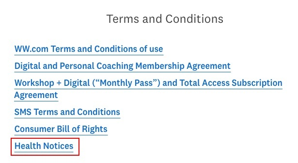 Weight Watchers Terms and Conditions: Link list with Health Notices highlighted
