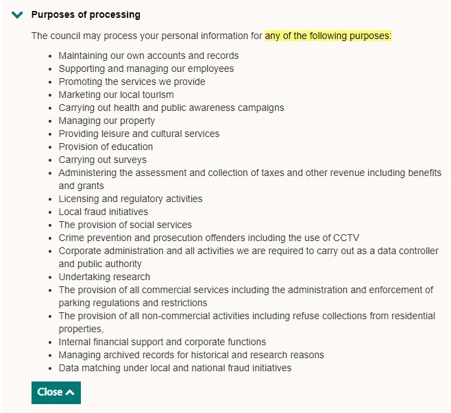 Wiltshire Council Privacy Notice: Purposes of Processing clause