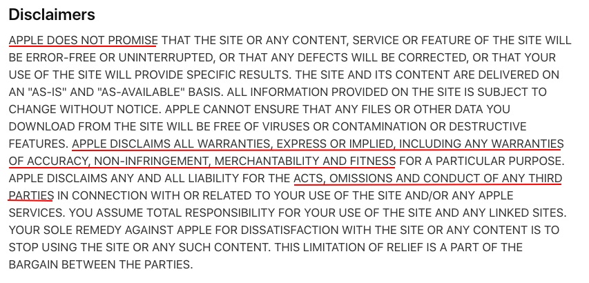 Apple Terms of Use: Disclaimers clause