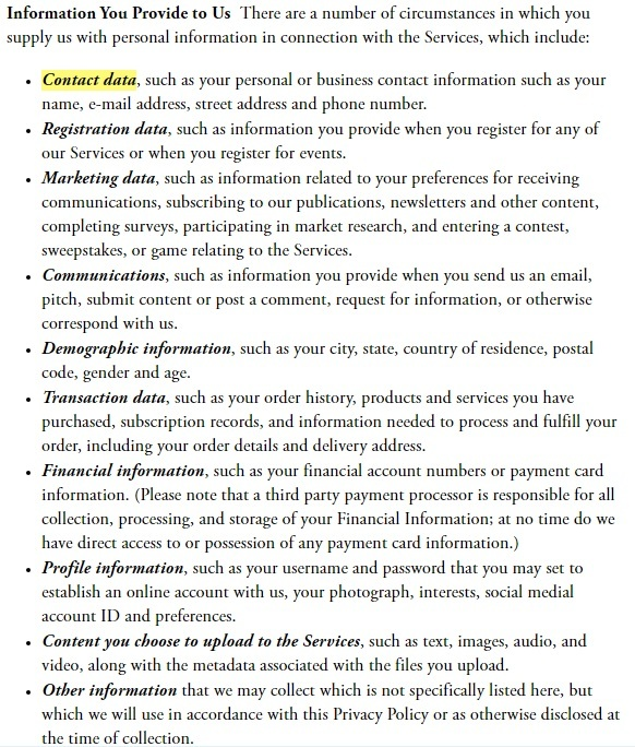 The Atlantic Privacy Policy: Information You Provide to Us clause - Contact Data highlighted