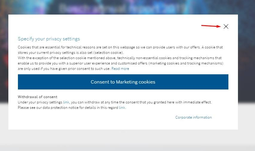 Bosch cookie consent notice for marketing cookies
