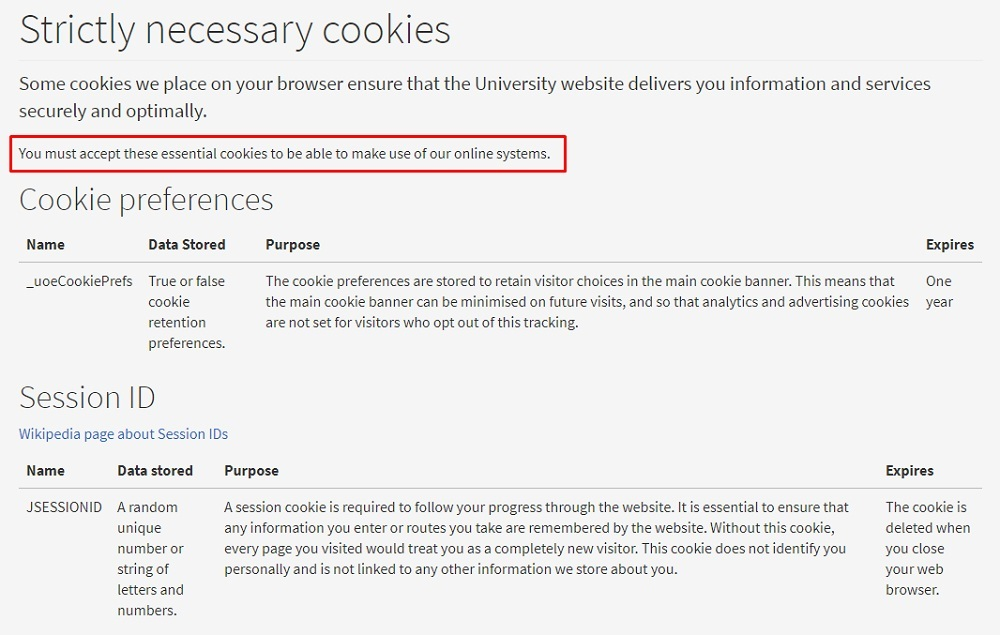Edinburgh University: Strictly necessary cookies definitions