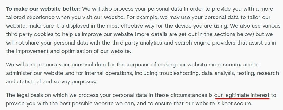 Farewill Privacy Policy: Basis for Processing Personal Data clause - To make our website better section