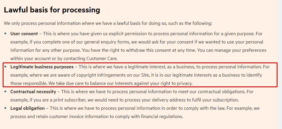 Financial Times Privacy Policy: Lawful basis for processing clause - Legitimate business purposes section highlighted
