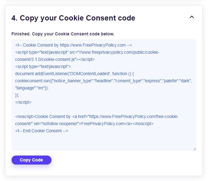 FreePrivacyPolicy: Cookies Consent - Finished - Copy your Cookie Consent code - Step 4