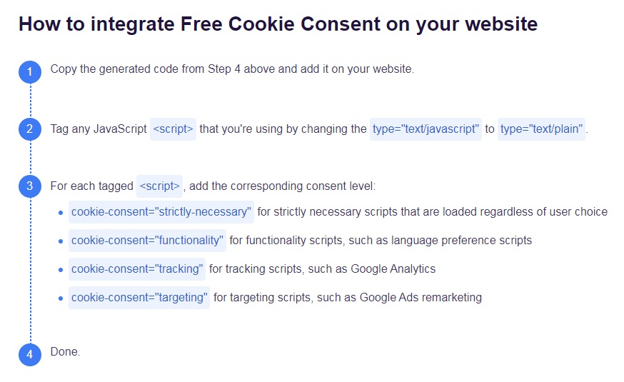 FreePrivacyPolicy: Cookies Consent - How to integrate your Cookie Consent code - Guidelines