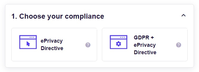 FreePrivacyPolicy: Cookies Consent - Choose your compliance - Step 1