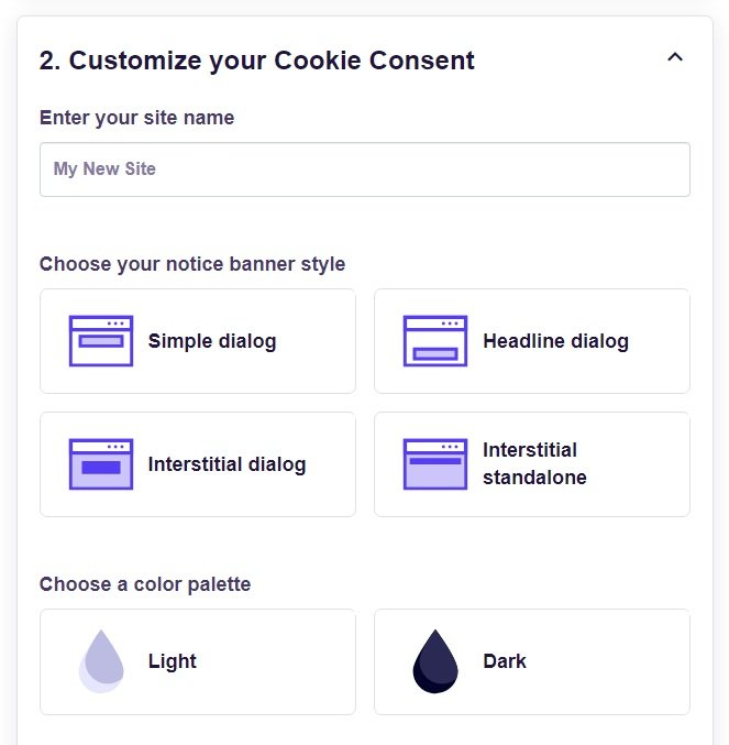 FreePrivacyPolicy: Cookies Consent - Customize your Cookie Consent banner - Step 2