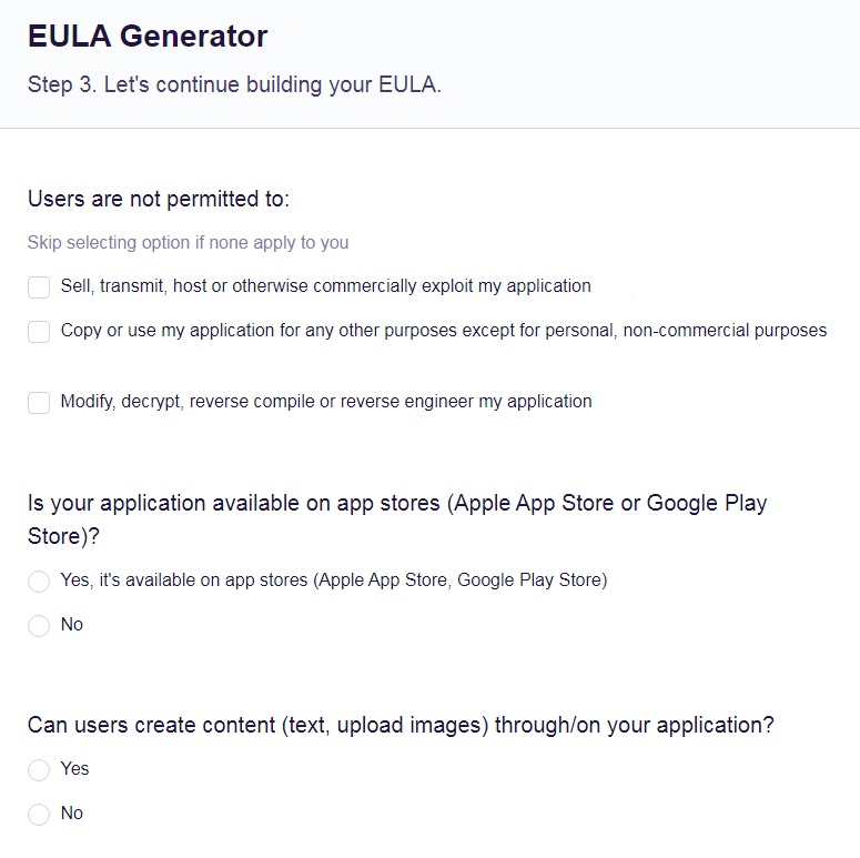 FreePrivacyPolicy: Free EULA Generator - Customize your EULA and answer a few questions about your app - Step 3