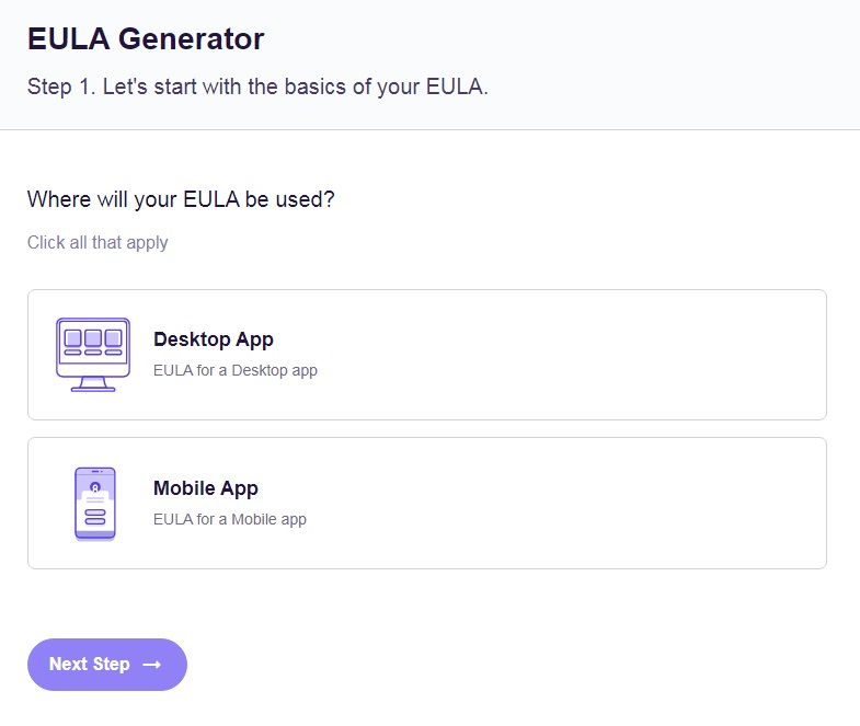 FreePrivacyPolicy: Free EULA Generator - Start with the basics select an App - Step 1