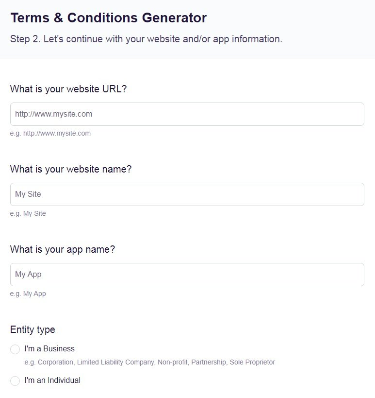 FreePrivacyPolicy: Free Terms and Conditions Generator - Answer a few questions about your business information - Step 2