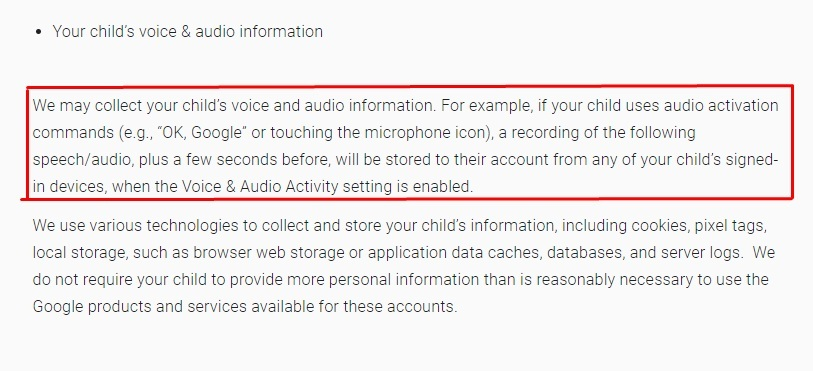 Google Privacy Notice for Google Accounts Managed with Family Link for Children Under 13: Your child's voice and audio information clause