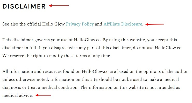 Hello Glow Disclaimer summary