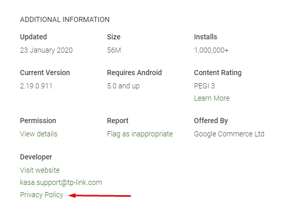 Kasa Google Play Store app listing with Privacy Policy highlighted