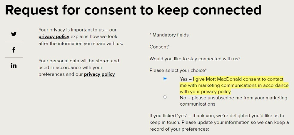 Mott Macdonald: Request consent for marketing communications form