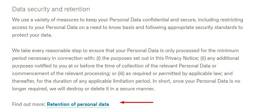 Nestle Privacy Notice: Data Security and Retention clause