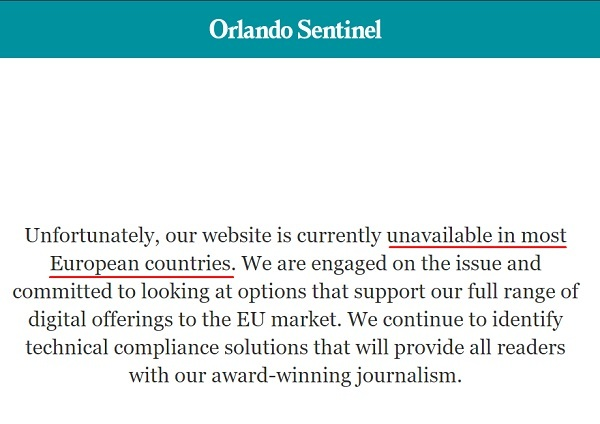 Orlando Sentinel: Notice that website is unavailable in most EU countries