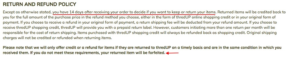 thredUP Terms of Use: Return and Refund Policy clause excerpt
