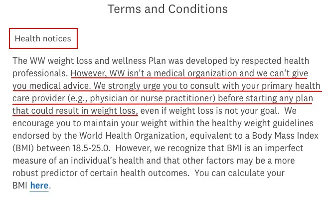 Weight Watchers Terms and Conditions: Health Notices clause excerpt