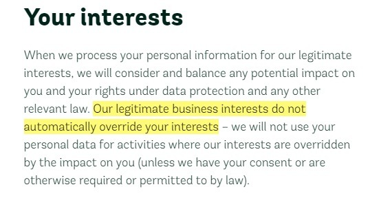 Woodland Trust Legitimate Interests Policy: Your Interests section