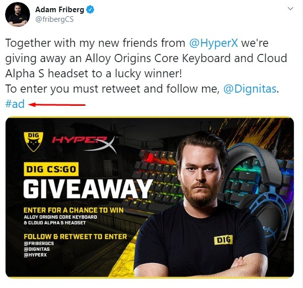 Adam Friberg Twitter post: Giveaway ad - Endorsement