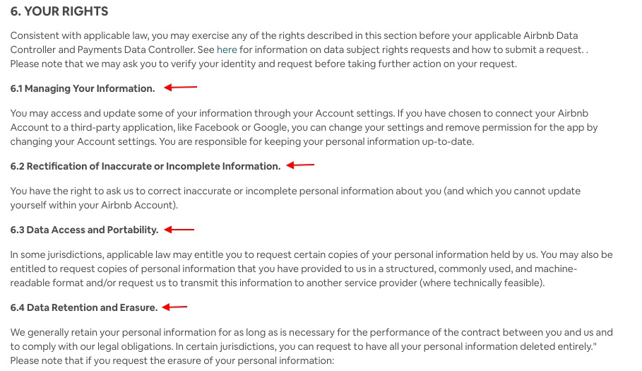 Airbnb Privacy Policy: User Rights clause