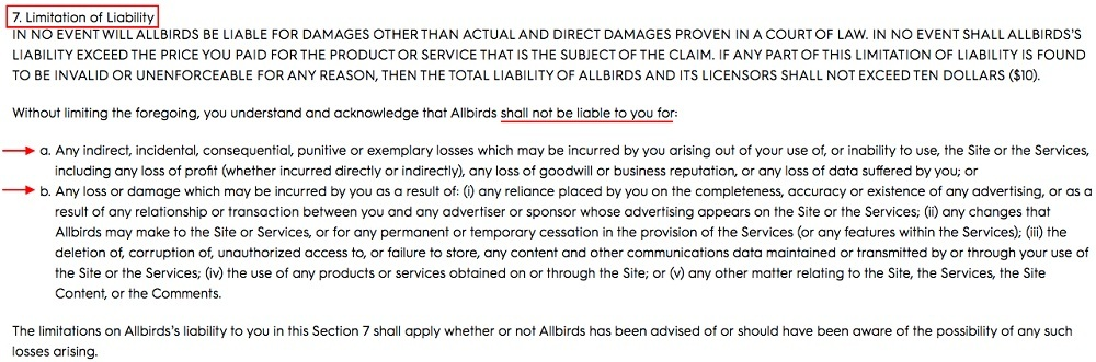 Allbirds Terms of Use: Limitation of Liability clause
