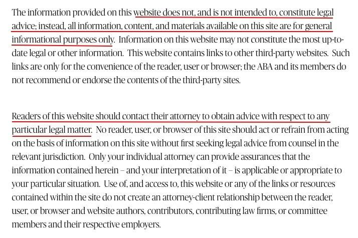 American Bar Association legal disclaimer