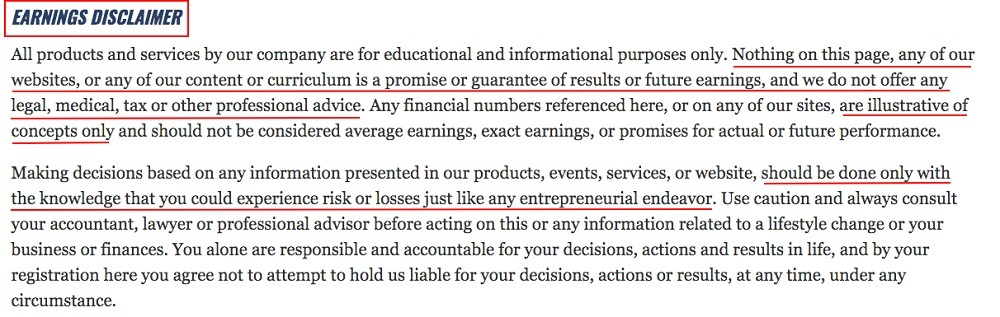 David Bach Terms of Use and Privacy Policy: Earnings Disclaimer