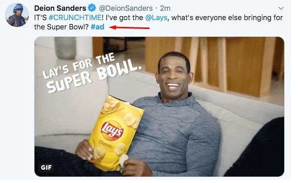 Deion Sanders Twitter post: Lays ad - Endorsement