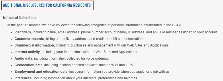 Dominos Pizza Privacy Policy: California rights clause