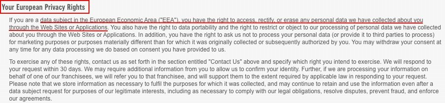 Dominos Pizza Privacy Policy: EU user rights clause