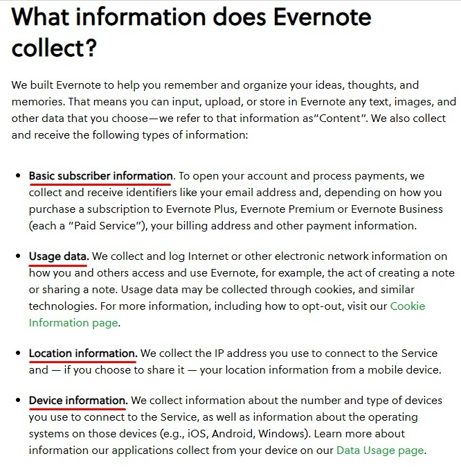 Evernote Privacy Policy: What Information Does Evernote Collect clause - Information collected list excerpt