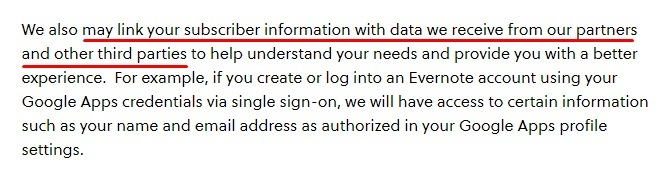 Evernote Privacy Policy: What Information Does Evernote Collect clause - Third parties excerpt