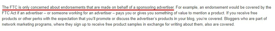 FTC Endorsement Guides: FAQ - Sponsoring advertiser excerpt