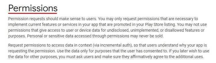 Google Play Console Help: Permissions - Introduction section