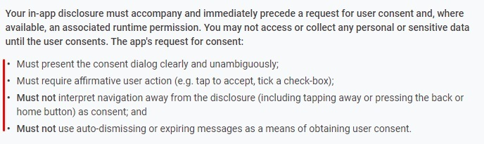 Google Play Console Help: User Data - Prominent Disclosure and Consent Requirement: Consent Requirements excerpt
