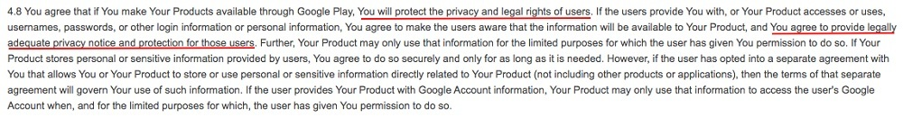 Google Play Developer Distribution Agreement: Section with requirement to protect privacy and rights and provide privacy notice