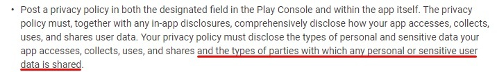 Google Play Developer Program Policy: Privacy, Deception and Device Abuse section - Personal and Sensitive Information clause - Privacy Policy and data shared excerpt