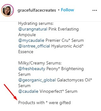 gracefulfacecreates Instagram post with gifted products highlighted - Endorsement