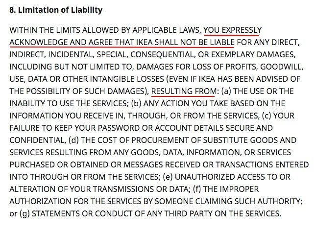 IKEA Terms and Conditions: Limitation of Liability clause