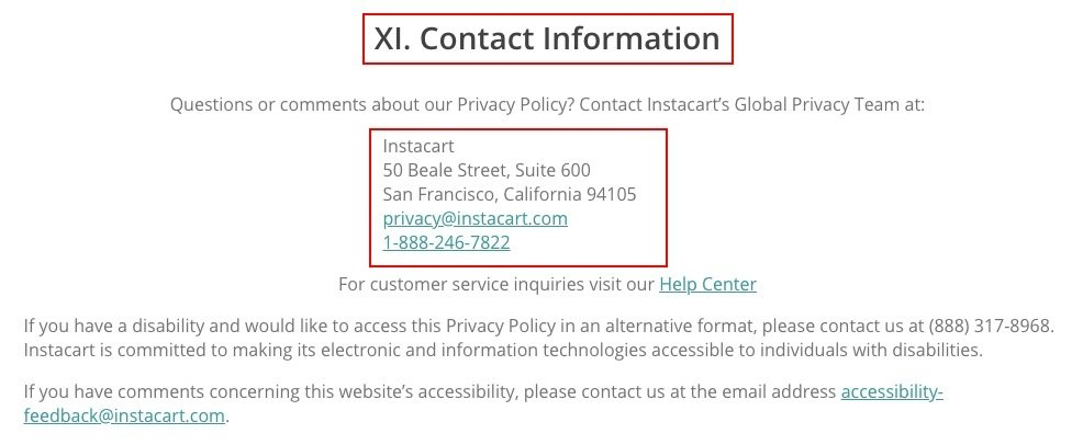 Instacart Privacy Policy: Contact Information clause