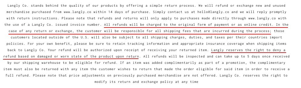 Langly Co Return Policy