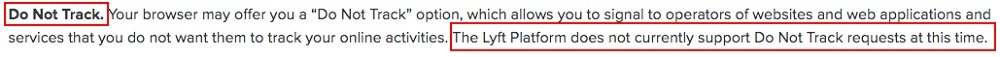 Lyft Privacy Policy: Your Rights and Choices Regarding Your Data clause - DNT section