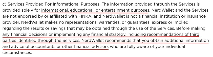 NerdWallet Terms of Use: Services Provided For Informational Purposes clause disclaimer