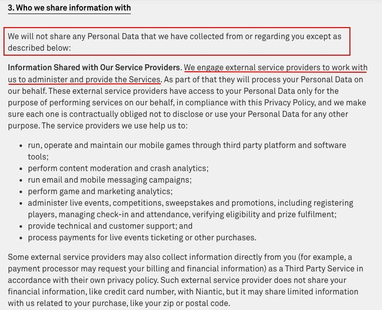 Niantic Privacy Policy: Who we share information with clause