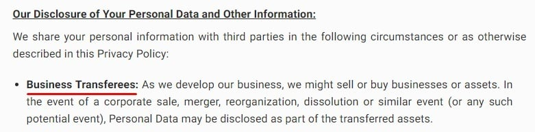 Poshmark Privacy Policy: Our Disclosure of Your Personal Data and Other Information clause - Business Transferees section
