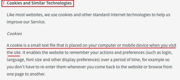 Roblox Privacy and Cookie Policy: Cookies and Similar Technologies clause - Cookies excerpt