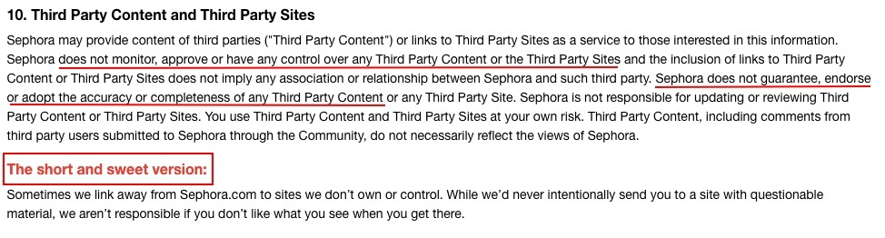 Sephora Terms of Use: Third Party Content and Third Party Sites clause